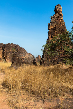 rock formation: The peaks of Sindou are a rock formation near the town of Sindou, Burkina Faso. Part of the site is accessible to tourists. Stock Photo