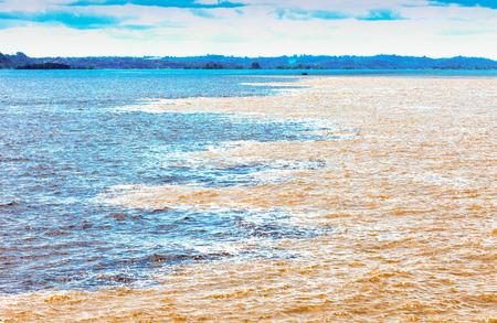 rio amazonas: Black and  white encounter, Amazon River, Brazil