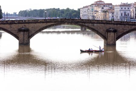 View of bridge on the Arno river,  Florence, Italy