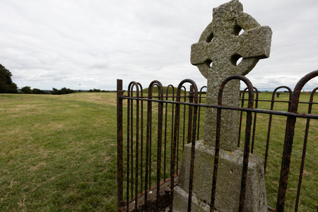 patron saint of ireland: The Hill of Tara, located near the River Boyne, is an archaeological complex that r contains a number of ancient monuments and,was the seat of the High King of Ireland. Stock Photo