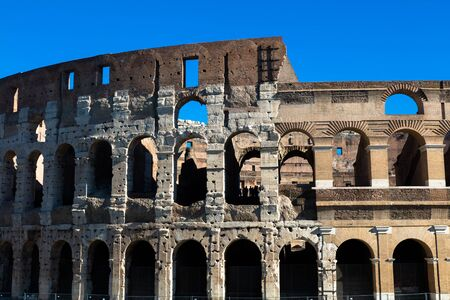 Great Roman Colosseum ( Coliseum, Colosseo ),also known as the Flavian Amphitheatre. . Rome. Italy. Europe Stock Photo