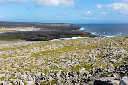aran: Typical panorama in Inish more, the biggest of Aran Islands, Ireland Stock Photo