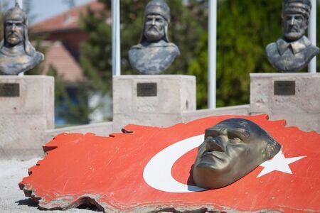 ataturk: statue odf Ataturk and Turkye flag Editorial
