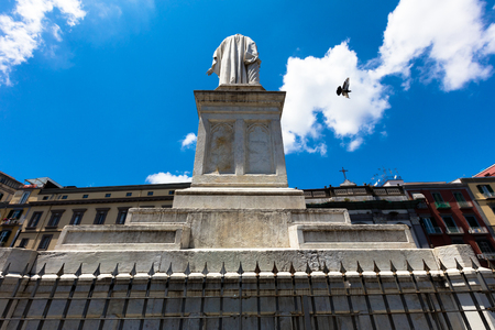 dante alighieri: the statue of  Dante Alighieri in Naples center, Italy