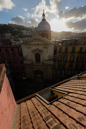 Panorama from the roofs of center of Naples, Italy