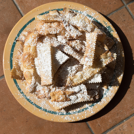 crostoli: chiacchiere, a traditional fried neapolitan carnival pastry