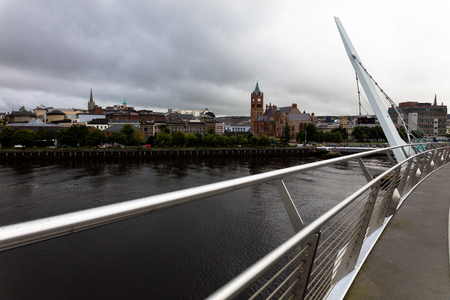 old town guildhall: view of the Peace Bridge in Londonderry, Northern Ireland