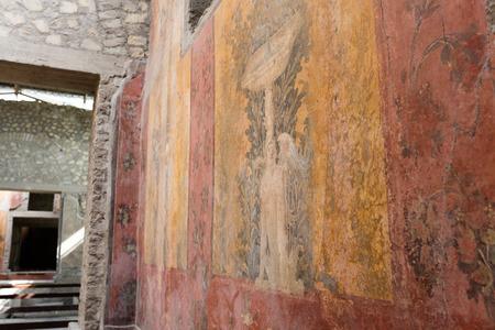APRIL 3, 2016. Torre Annunziata (Naples), Italy Ancient roman fresco represented a scene of Roman mitology in the Poppeas Villa