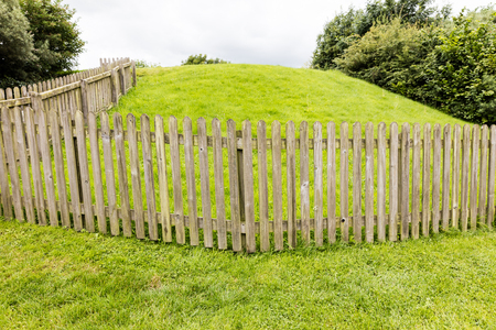 Wooden fence on a green backround, Ireland
