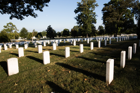 tombstones: Rows of white graves stones in Arlington cemetery, Washington DC. Editorial