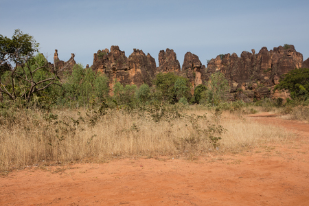 The peaks of Sindou are a rock formation near the town of Sindou, Burkina Faso. Part of the site is accessible to tourists. Stock Photo