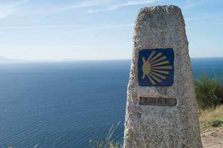 The km 0 in Ferrol at the beginning of the way for Santiago of Compostela