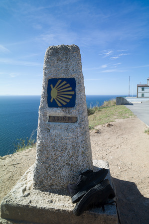 The km 0 in Finisterre at the end of the way for Santiago of Compostela