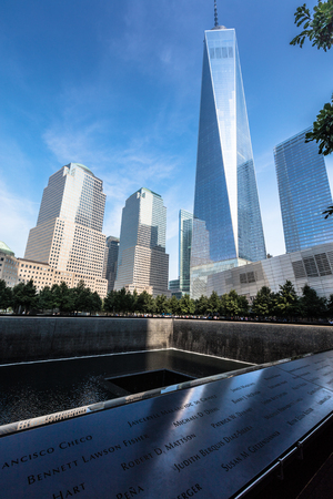 Trade world center today: The memorial 9.11 in Financial district, Manhattan