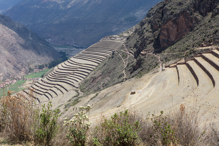 Terraced circular depressions at Moray in Peru Stock Photo
