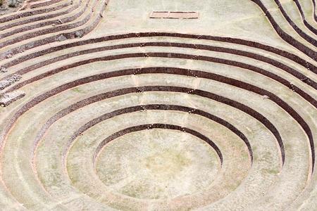 Inca circular terraces at Moray (agricultural experiment station), Peru, South America Banque d'images