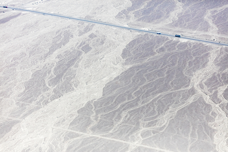 Mysterious figures Nazca desert from the aircraft 免版税图像