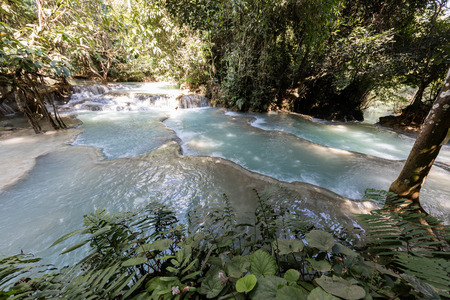 water of Kuang Si waterfall, Luang Prabang. Laos