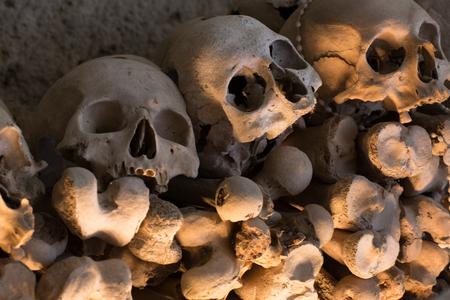 Skulls in Fontanel cemetery, Historical center, Naples, Italy