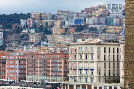 Landscape of Naples from Villa Comunale, Italy Editorial