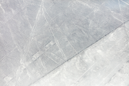 Mysterious figures Nazca desert from the aircraft Stock Photo