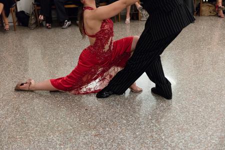 Detail of tango dancers in milonga ballroom Stock Photo