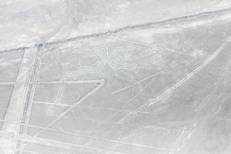 Mysterious figures Nazca desert from the aircraft Editorial