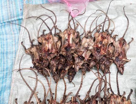 Roasted rats on   Market, Luang Prabang, Laos Stock Photo