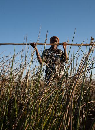 woman  on a boat in Okavango Delta,  Botswana Editorial
