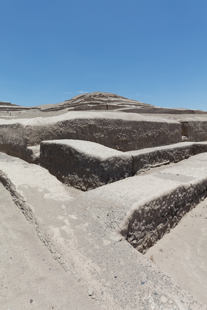 Pyramid of Cauachi, archaeological site In the Nazca region, Peru 免版税图像
