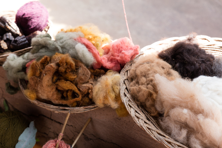 cotton factory in Peru utilizying a  parasite of cactus  as natural dye Standard-Bild - 120969990