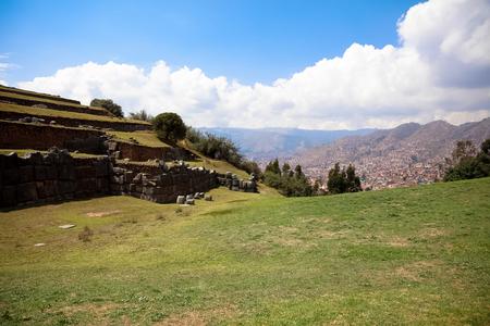 Ruins of the Inca Fortress of Saqsaywaman outside Cuzco Peru