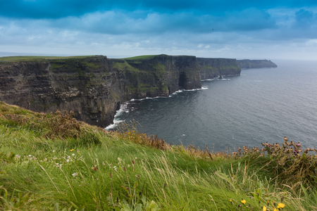 Cliffs of Moher in Ireland in a cloudy day