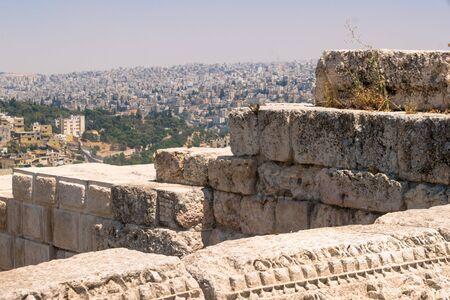 Panorama of Amman from citadel ,Jordan Stok Fotoğraf