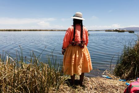 typical costumes in Amantani on the Titicaca lake