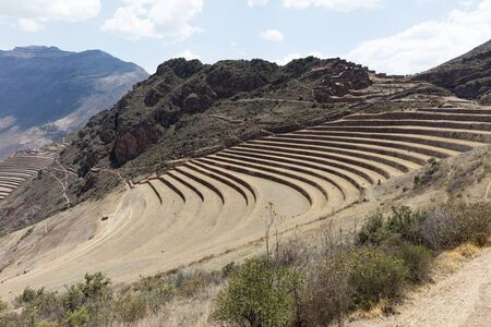 Inca circular terraces at Moray (agricultural experiment station), Peru, South America Stok Fotoğraf