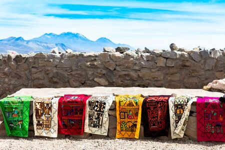 Colorful carpet exhibition in the Andes, Peru