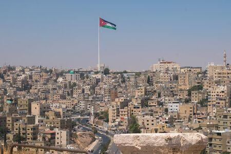 Panorama of Amman from citadel ,Jordan Stok Fotoğraf