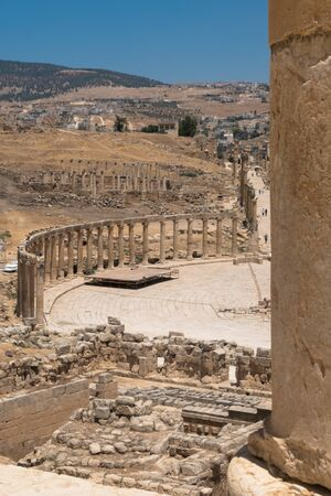 Jerash (Gerasa), ancient roman capital and largest city of Jerash Governorate, Jordan, Stok Fotoğraf