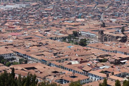 View of Cuzco  from  Fortress of Saqsaywaman, Peru Stok Fotoğraf