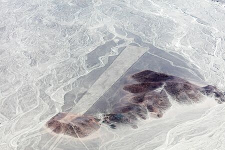 Mysterious figures Nazca desert from the aircraft Stok Fotoğraf