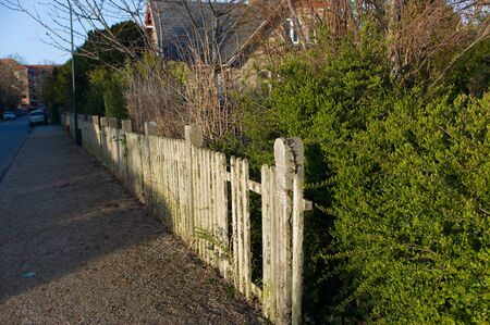 Wooden fence on a green backround