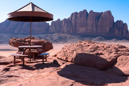 Panorama of   Wadi Rum desert, Jordan Stock Photo