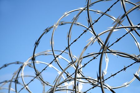 slammer: A close shot of razor wire on a fence