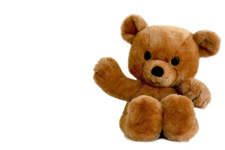 Een bruine teddybeer, geïsoleerd op wit