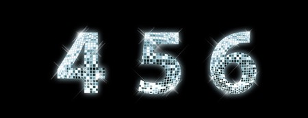disco symbol: 4,5,6 - font made from a disco ball