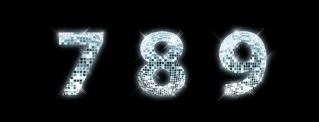 8 9: 7,8,9 - font made from a disco ball