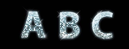 reflection in mirror: A, B, C - font made from a disco ball Stock Photo