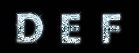 fonts music: D,E,F - font made from a disco ball
