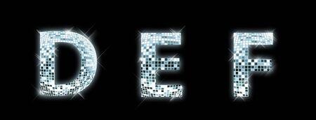 d: D,E,F - font made from a disco ball
